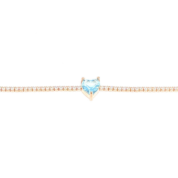 Aqua Marin Heart Tennis Choker Necklace