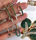 Green Baguette Gemstone T Earring