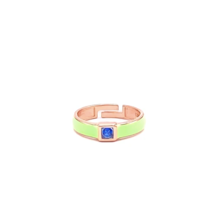 Green Enamel Blue Square Stone Ring