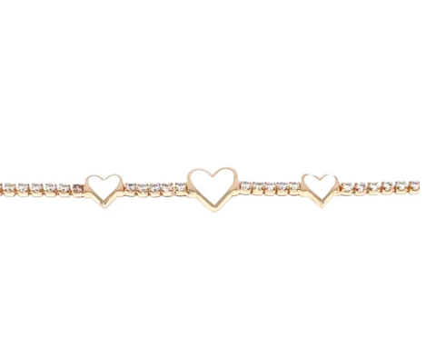 Triple White Heart Tennis Bracelet