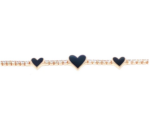 Triple Black Heart Tennis Bracelet