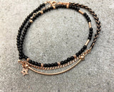 Black Beaded Three Strand Star Anklet