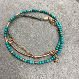 Turquoise Beaded Three Strand Eye Anklet