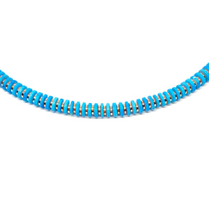 Turquoise Silver Discs Necklace