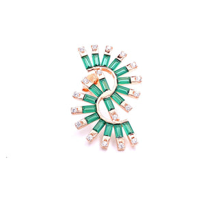 Green Baguette Earring