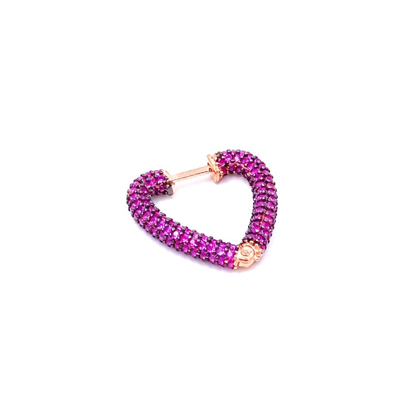 Fuchsia Gemstone Heart Earring