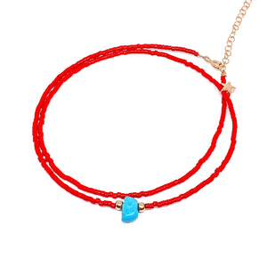 Red Beaded Star Turquoise Necklace