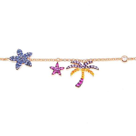 Multicolor Palm Tree Anklet