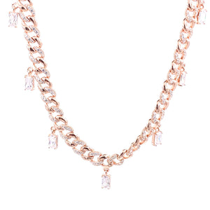 Baguette Gemstone Cuban Chain Necklace