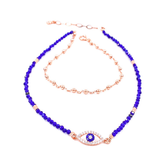 Double Strand Dark Blue Beaded Anklet
