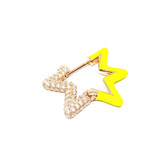 Neon Yellow Two Sided Star Earring