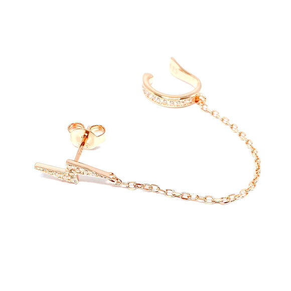 Lightning Stud Ear Cuff Earring
