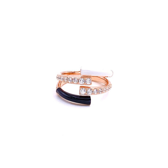 Black White Pink Double Ring