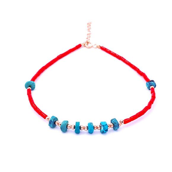 Turquoise and Coral Stone Discs Anklet