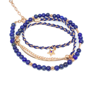 Dark Blue Triple Line Bracelet