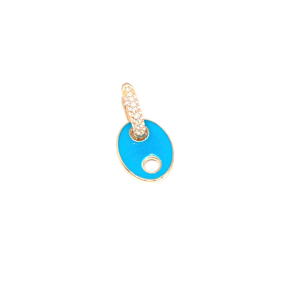 Blue Enamel Button Earring