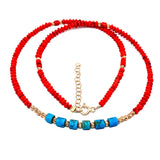 Red Afghan Beaded Necklace