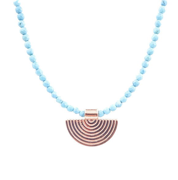 Turquoise Beaded Tag Pendant Necklace