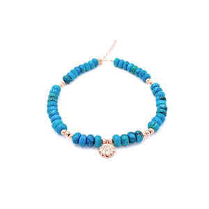 Oyster Turquoise Beaded Anklet