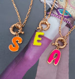 Neon Initial Medallion Necklace