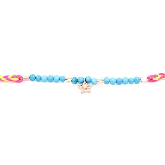 Neon Pink Braided Bead Anklet