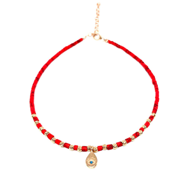 Red Beaded Eye Drop Anklet