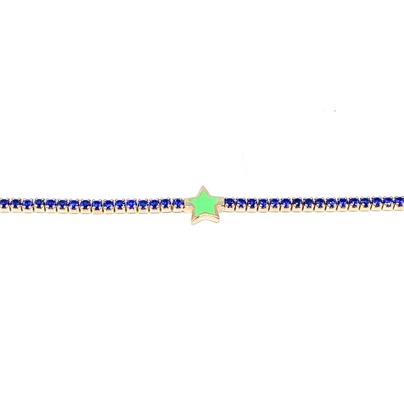 Green Star Blue Tennis Anklet