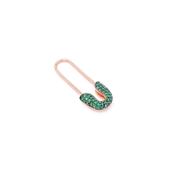 Green Safety Pin Earring 2.5 cm