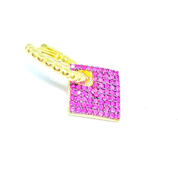 Pink Stone Diamond Earring