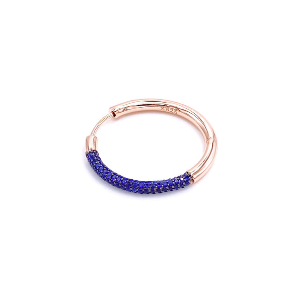 Blue Gemstone Slim Hoop Earring