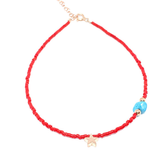 Red Beaded Turquoise Stone Anklet