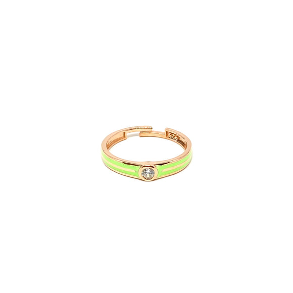 Green Enamel Solitaire Ring