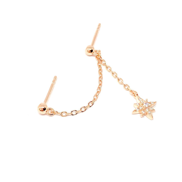 Mini Ball Chain Celestial Earring
