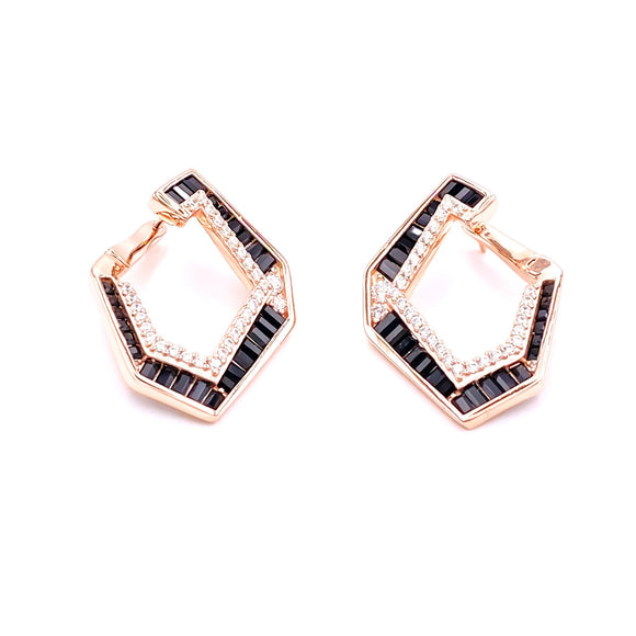Geo Black Baguette Gemstone Earring