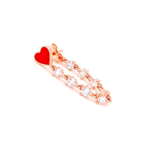 Red Enamel Heart Stone Chain Earring
