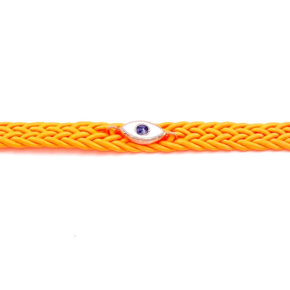 Orange/Blue Knit Enamel Eye Anklet