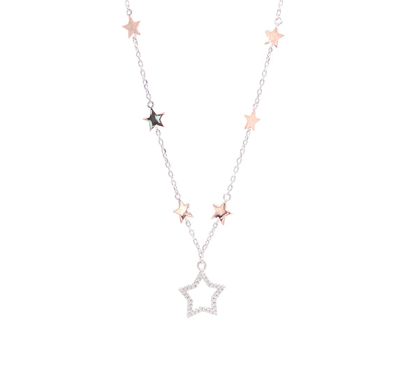 Rose and White Gold Multi Star Necklace
