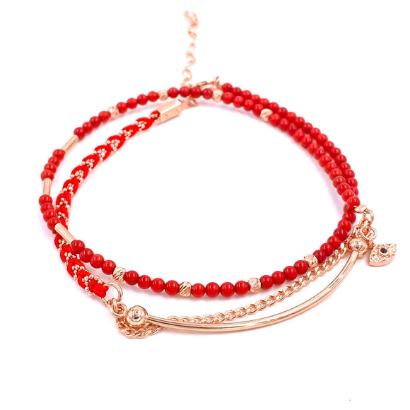 Red Beaded Three Strand Anklet