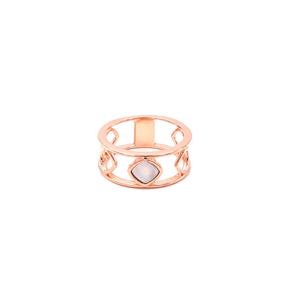 Mother of Pearl Geometric Ring