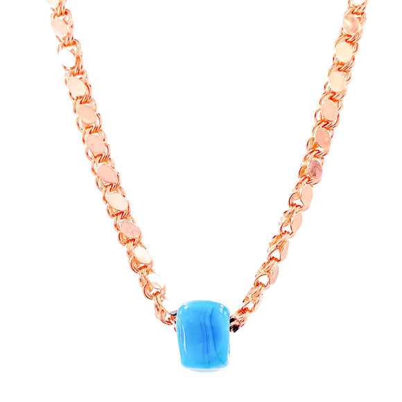 Blue Beaded Thick Discs Chain