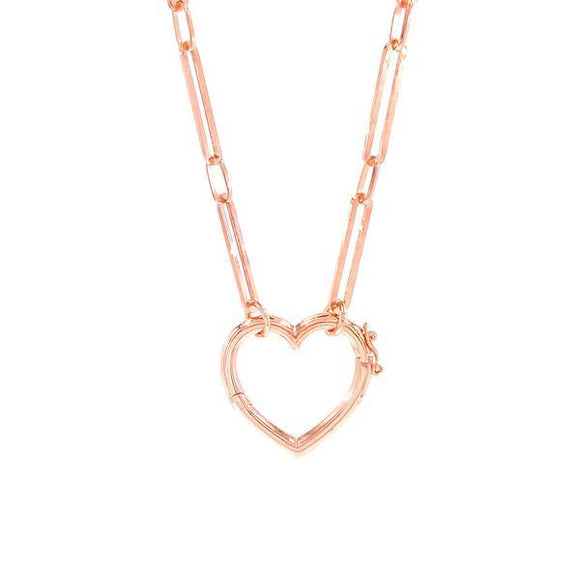 Heart Pendant Drawn Chain Necklace