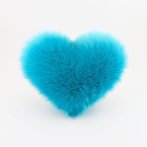 Front view of Aqua Blue heart shaped decorative pillow.