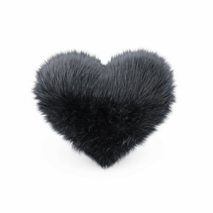 Front view of a Black faux fur heart shaped decorative pillow.