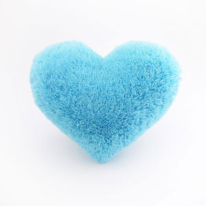 Fluffy Aqua Blue Heart Shaped Decorative Throw Pillow