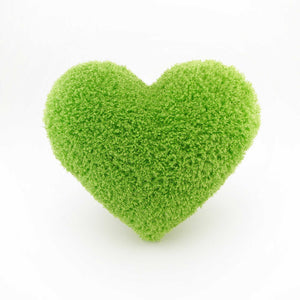 Bright Green curly shag heart shaped decorative pillow.