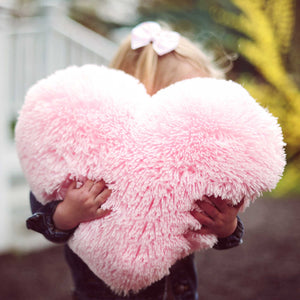Fluffy Light Pink Heart Shaped Decorative Throw Pillow