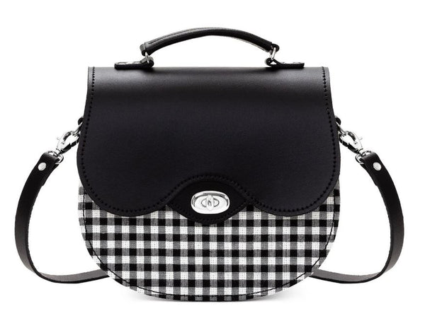 Zatchels Gingham Handmade Leather Saddle Bag