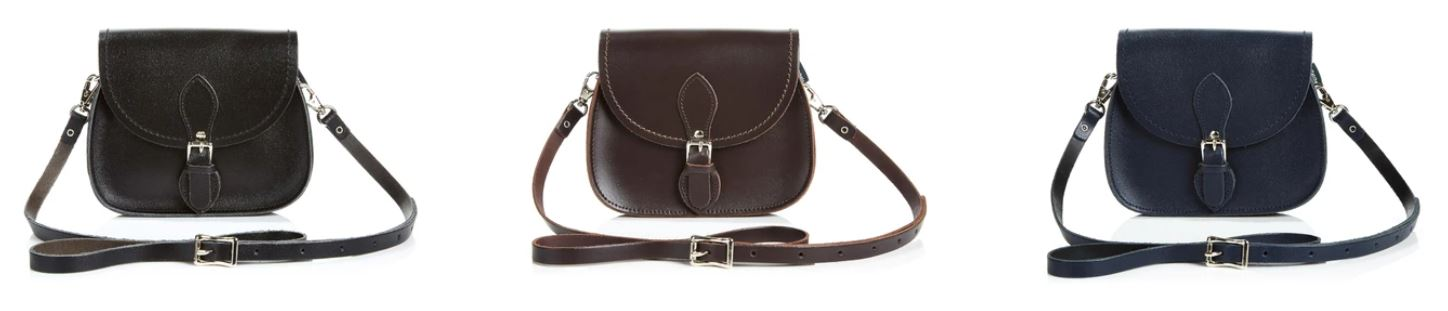 3 x Zatchels Handmade Leather Saddle Bags in Black, Dark Brown, and Navy Blue