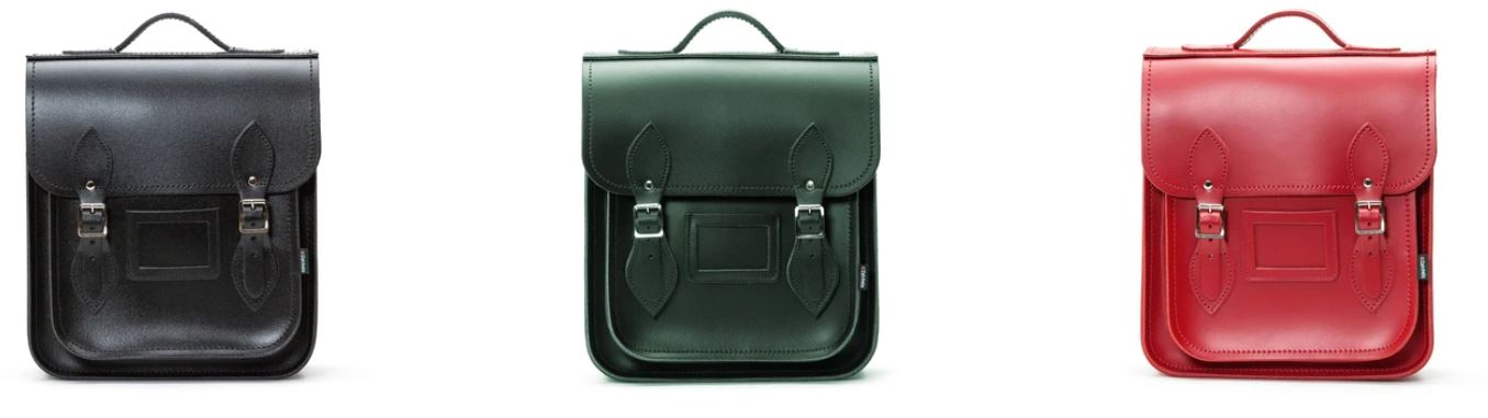Zatchels Handmade Leather City Backpack Banner With Black, Ivy Green, and Red backpacks