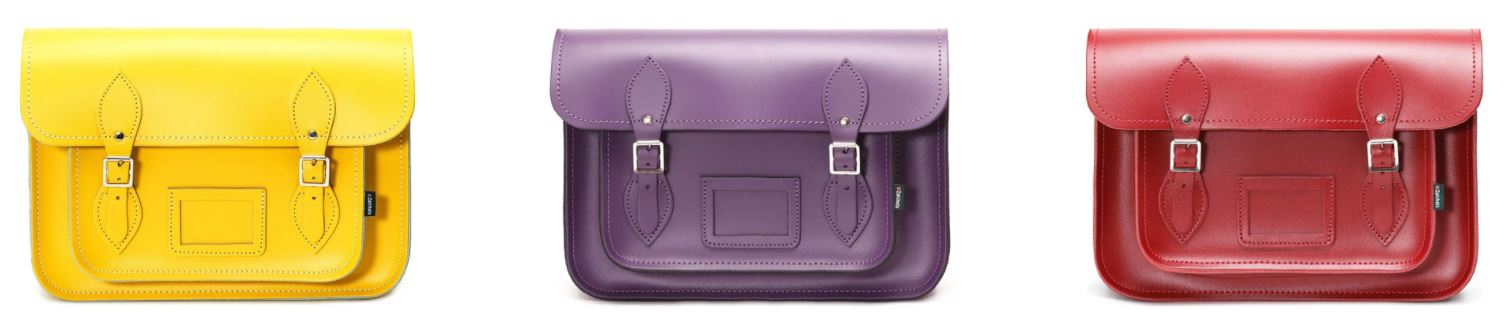 3 x Zatchels Handmade Leather Satchels in Yellow, Red, and Purple